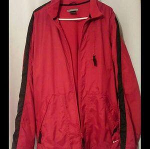 Nike red fleece lined waterproof jacket coat large
